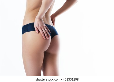 Beautiful slim female body. Voluptuous woman's shape with clean healthy skin, sexy back. Spa beauty part of body. Healthy lifestyle, diet and fitness. Perfect waist, butt and legs