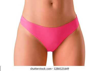 Beautiful slim sexy woman in hot pink panties, young body isolated on white background
