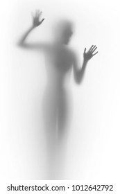 Beautiful, slim woman body behind a curtain, hands, fingers, silhouette