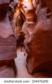beautiful slot canyon in Page Arizona, shapes and shadows under low lights for beautiful colors and backgrounds