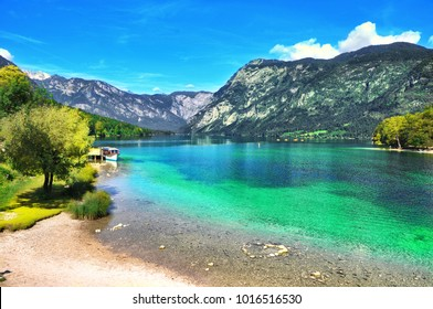 Beautiful Slovenian landscape Bohinj Lake,with turquoise water.Triglav National Park, Julian Alps, Slovenia,Europe