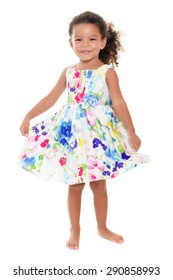 b7122a4ec98 Beautiful small african-american or hispanic girl wearing a flowers summer  dress isolated on white