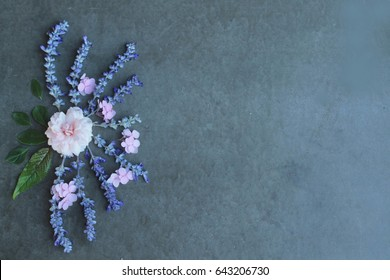 Beautiful small blue flower and pink rose for background