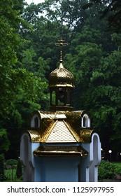 Beautiful small chapel in the park. Morshyn, Ukraine.