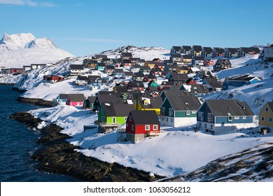 Beautiful small colorful houses in myggedalen nuuk greenland winter