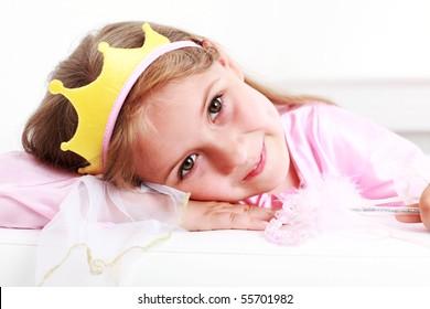 Beautiful small girl dressed as princess