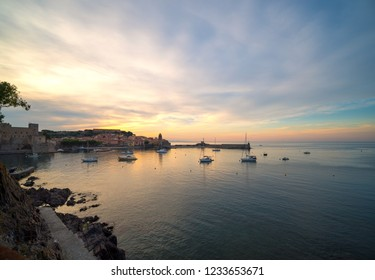 Beautiful small harbour of Collioure at sunset time, coastal village in the south of France.