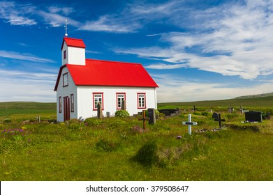 Beautiful small Icelandic church in the rural area
