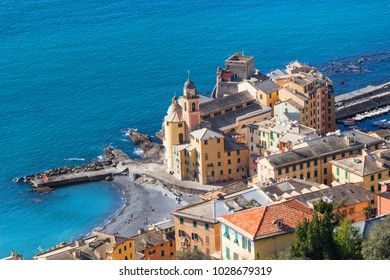 Beautiful Small Mediterranean Town at the in Camogli, Italy, European travel, landscape with blue sea and blue sky and cityscape with bright day, Aerial view of Camogli a characteristic famo