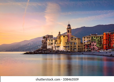 Beautiful Small Mediterranean Town at the sunrise time - Camogli, Italy, European travel