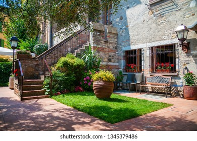 beautiful small patio with staircase in Sirmione, Lake Garda, Italy