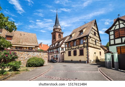 Beautiful small town Bergheim with half-timbered houses, Alsace, France