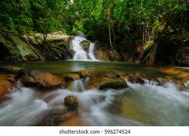 Beautiful small waterfall in Phuket Thailand.