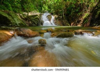 Beautiful small waterfall in Phuket Thailand