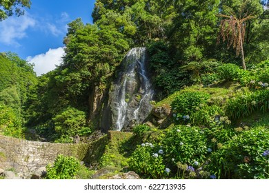 Beautiful small waterfall surrounded with hydrangeas in Ribeira dos Caldeiroes park, Sao Miguel, Azores, Portugal