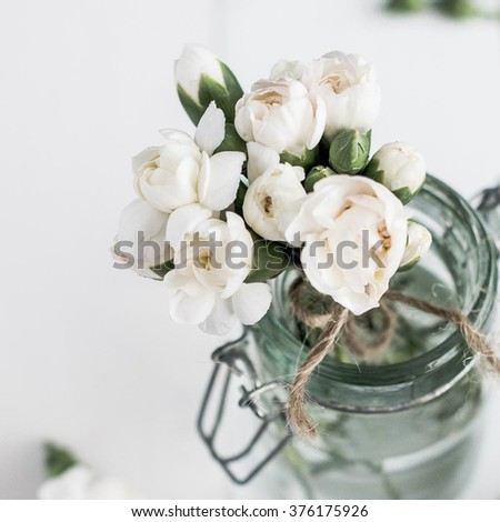 Beautiful Small White Flower Corsage Glass Stock Photo Edit Now