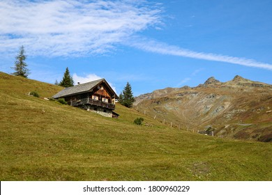 Beautiful small wooden house on a mountainside