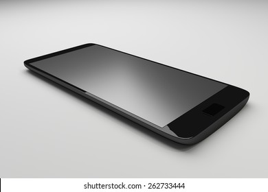 Beautiful smartphone on white background. Black mobile smart phone, 3d render.