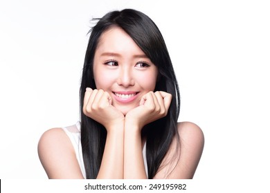 Beautiful smile happy woman eye look to empty copy space isolated on white background. asian model
