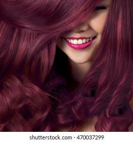 Beautiful smile model with silky hair,colorful hair,purple hair,Pink hair, blonde hair, red hair