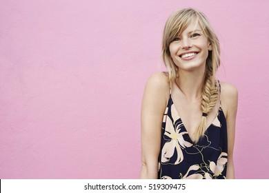 Beautiful smile on blond model, portrait