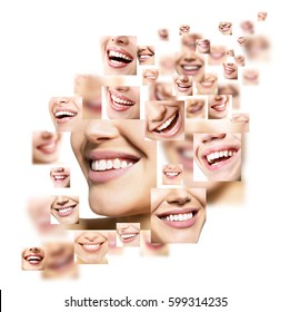 Beautiful smiles set. Perfect wide smiles with great healthy white teeth, over white. Dental care, whitening, stomatology, restoration of teeth, prosthetics, oral hygiene concept. Smiley faces.