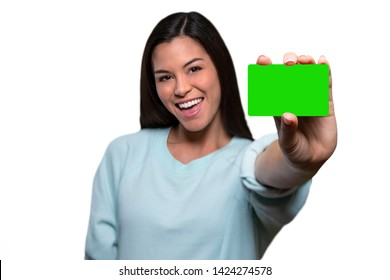 Beautiful smiling asian american woman excited for new credit card, loan, bank, financial, debit, ATM card