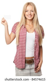 Beautiful smiling blond female in casual holding blank card over white background