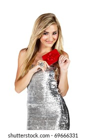 beautiful smiling blond woman in silver minidress holding red gift box isoltaed on white