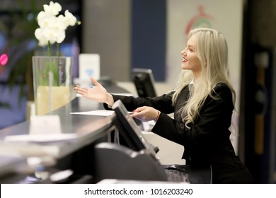 The Beautiful smiling business woman portrait. Smiling female receptionist - Stock image Businesswoman, One Woman Only, Women, Adult, Adults Only