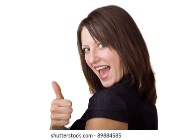 Beautiful smiling business woman showing thumbs up, isolated on white background