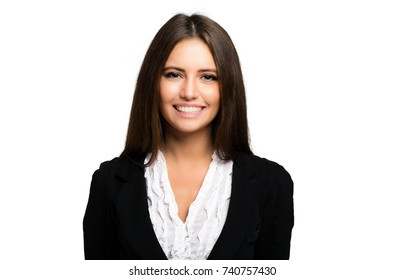 Beautiful smiling businesswoman portrait isolated on white