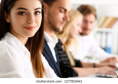 Beautiful smiling clerk girl wearing at workplace look in camera portrait. White collar worker at modern training coach visit boss job offer client profession market idea study