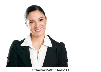 Beautiful smiling confident business woman looking at camera isolated on white background, copy space.