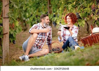 Beautiful smiling couple having picnic and tasting wine at a vineyard.