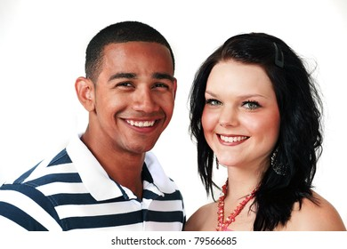 Beautiful smiling couple of mixed race