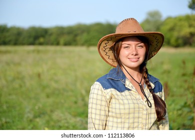 Beautiful Smiling Cowgirl  outdoor