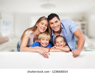 Beautiful smiling family on background