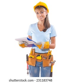 beautiful smiling female worker holding clipboard and looking at camera isolated