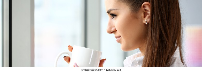 Beautiful smiling girl hold in arms big cup portrait. White collar worker office lifestyle job offer modern study profession inspiration aroma coach train concept