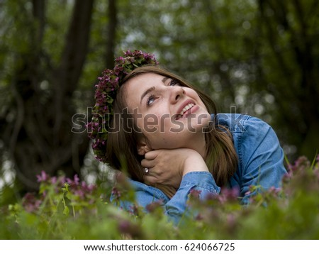 f365aa902b Beautiful Smiling Girl Looking Wearing Flower Stock Photo (Edit Now ...