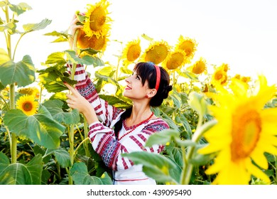Beautiful smiling girl in national ukrainian blouse embrodery holding a sunflower on a field