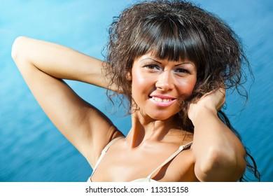 Beautiful smiling girl in an outdoor setting