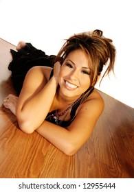 Beautiful Smiling Hispanic Woman in Casual Fashion