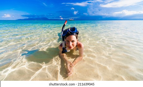 beautiful  smiling joy wonder woman blue sea with mask snorkeling philippines amazing  fresh  fantastic freedom snorkel adventure luxury coral reef background holiday Christmas spa