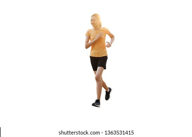Beautiful smiling thai women is jogging, running isolated on white background.
