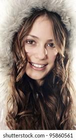 Beautiful smiling winter coat girl