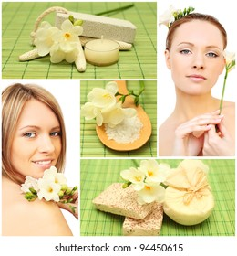 Beautiful smiling woman, bath soap, cosmetic and flowers - spa collage