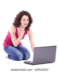 Beautiful smiling woman with computer PC on white background.