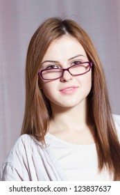 Beautiful smiling woman with glasses